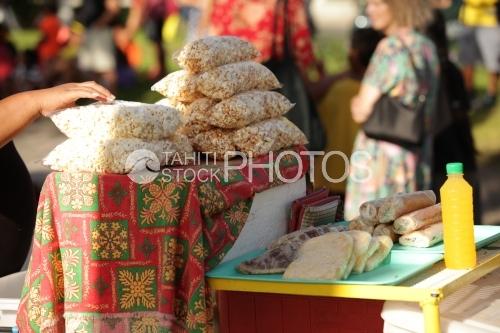 Bags of Pop corn in a public garden