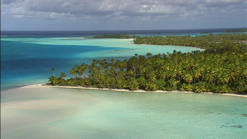 Aerial shot inside the lagoon of Tetiaroa in French Polynesia