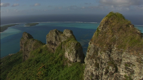 Beautiful aerial shot of the mountains of the Austral Island Raivavae in French Polynesia
