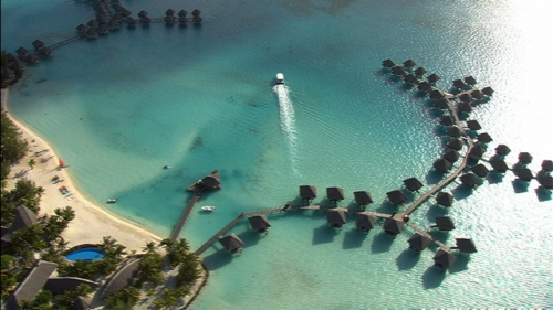 Aerial shot of a luxurious hotel in the lagoon of Bora Bora, Society Islands in french Polynesia