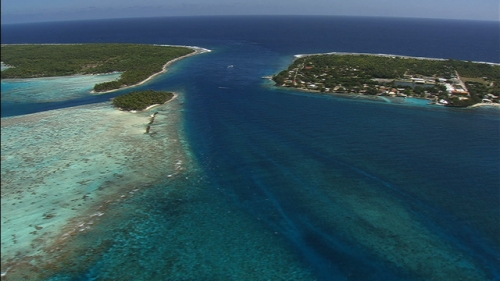 Aerial shot of the Tiputa pass of Rangiroa, Tuamotus archipelago in french Polynesia