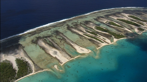 Aerial Shot of the reef and atoll of Rangiroa, Tuamotus archipelago in french Polynesia