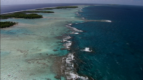 Aerial shot of the reef and ilots of atoll of Rangiroa, Tuamotus Archipelago in french Polynesia