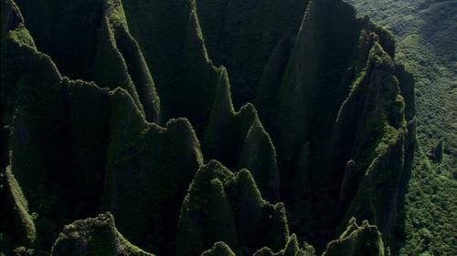 Vertical aerial shot of mountain of Hakaui valley, Nuku Hiva island, Marquesas archipelago in french Polynesia