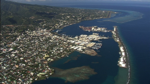 Tahiti, aerial shot of Town and port of Papeete, french Polynesia