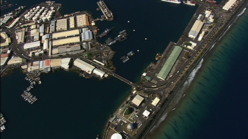 Tahiti, vertical aerial shot of port of Papeete, french Polynesia