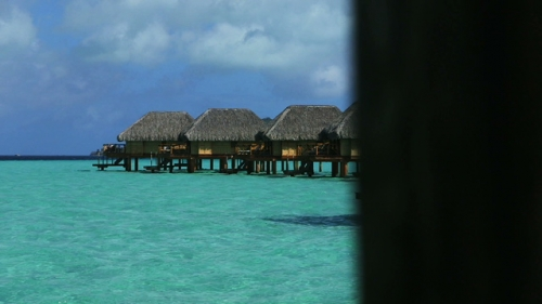 Bora Bora, overwater bungalows on the lagoon