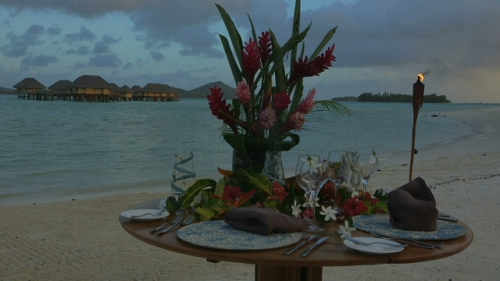 Bora Bora, Table ready for special honey moon diner