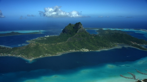 4K UHD, Bora Bora, Aerial shot of the island and lagonn over the barrier reef