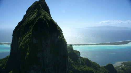 Bora Bora, Aerial view of the Top of  Mountain O Te Manu, and the lagoon, part 3