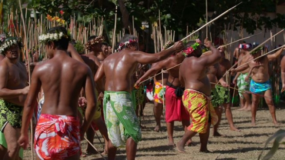 Heiva Tahiti, Traditional sports of Polynesia, Men throwing Javelin during contest