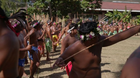 Heiva Tahiti, Traditional sports of Polynesia, Men with pareos during Javelin throwing contest