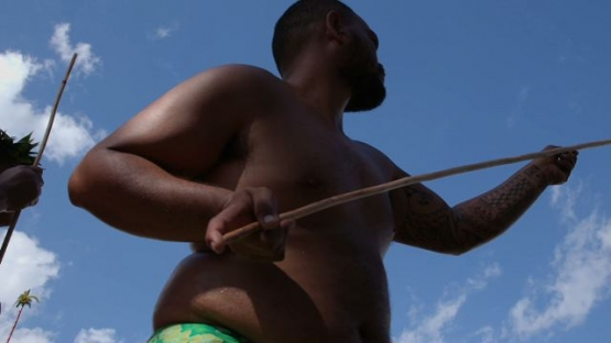 Heiva Tahiti, Traditional sports of Polynesia, Men throwing javelin  during traditional contest