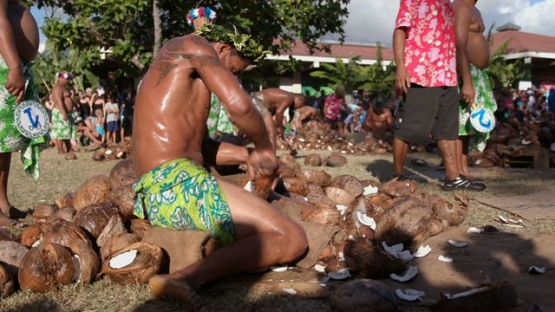 Heiva Tahiti, Polynesian Traditional sports, coprah- farmers contest, emptying coconuts fast