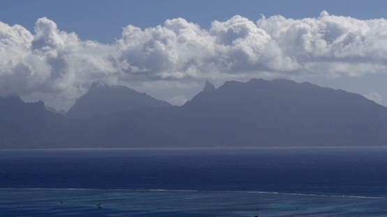Moorea, view of ocean and mountains, shot from Tahiti