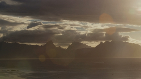 Timelapse of a cloudy sunset on the island Moorea