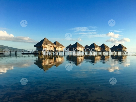 Moorea, Overwater bungalows of a luxury resort