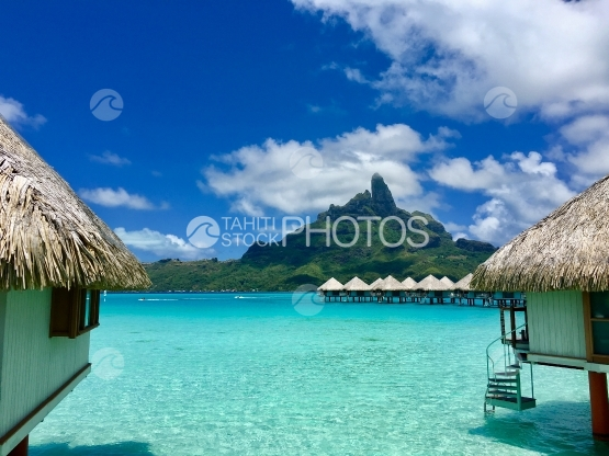 Bora Bora, Beautiful view on Mt Otemanu, over luxurious hotel and overwater bungalows