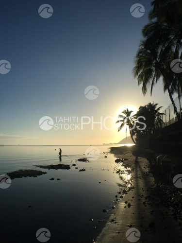Tahiti, Sunset at the lagoon of Papara