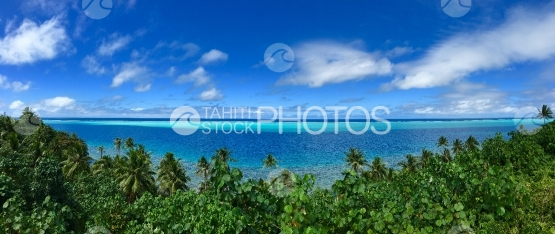 Huahine, panoramic view of the blue lagoon over the coconut trees