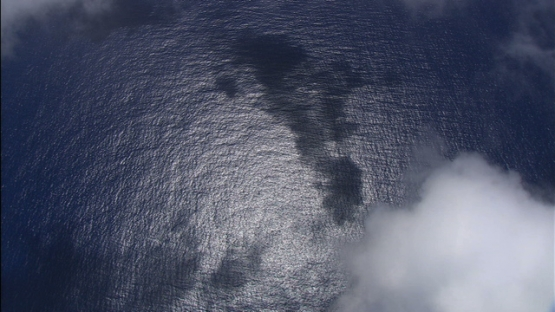 Aerial view of ocean and clouds