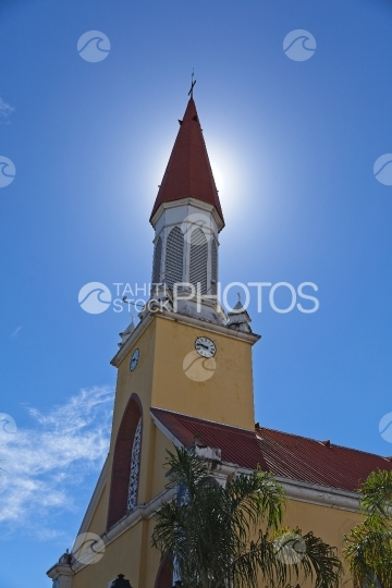 Tahiti, Bell tower of Cathedral of Papeete, sunny sky