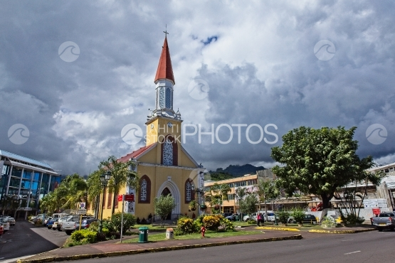 Tahiti, Cathedral of Papeete, cloudy sky