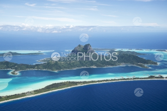 Bora Bora, Aerial view of the island and lagoon