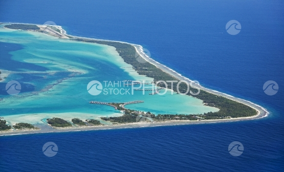 Bora Bora, Aerial view of the lagoon and hotel