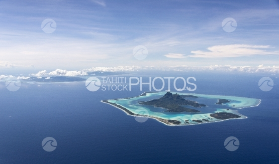 Island of Bora Bora and Tahaa, aerial view