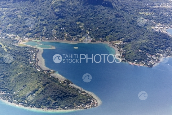 Bora Bora, aerial view of bay of Faanui
