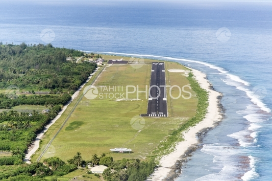 Aerial view of the airport of Huahine