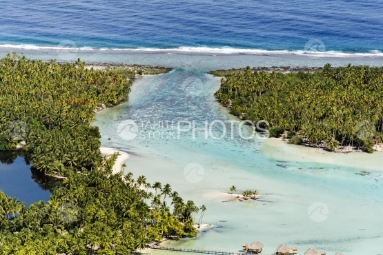 Tahaa, aerial view of the reef by the ocean