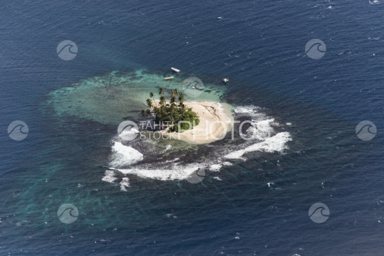 Tahiti, aerial, small island in the lagoon
