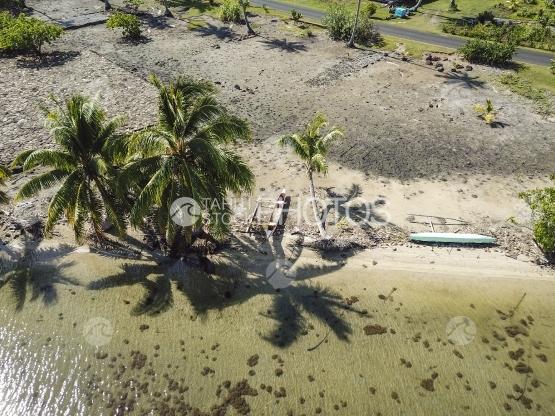 Huahine, aerial view of a sacred archeologic site, marae