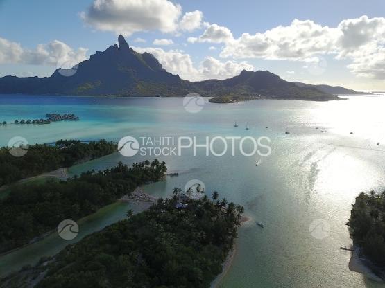 Bora Bora aerial, island and lagoon