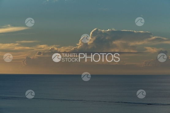Sunset, Sky and clouds over the horizon and ocean