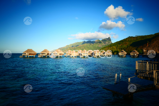 Typical polynesian luxury resort at Moorea