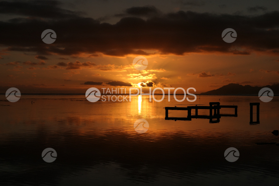 Sunset on the lagoon of Tahiti