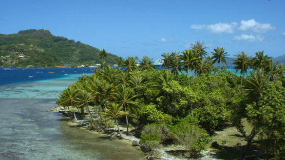 Raiatea, aerial view of the island and lagoon