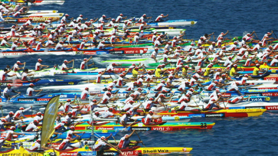 Raiatea, aerial view of the start of the Hawaikinui paddle race