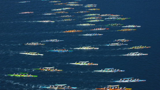 Raiatea, aerial view of the  Hawaikinui paddle race