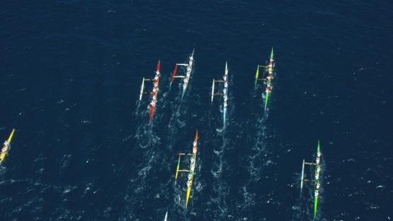 Raiatea, aerial vertical view of the Hawaikinui paddle race