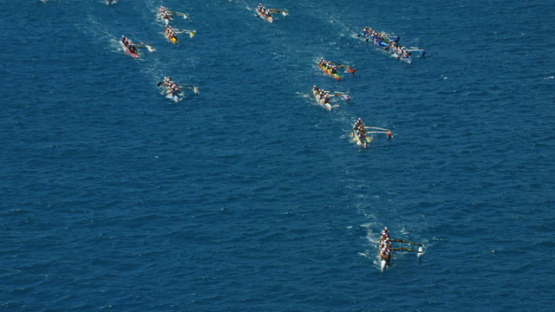 Raiatea, aerial view of the Hawaikinui paddle race in the lagoon