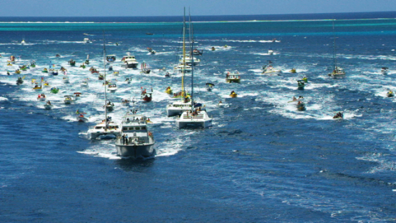 Raiatea, aerial view of all motor boats following the Hawaikinui paddle race