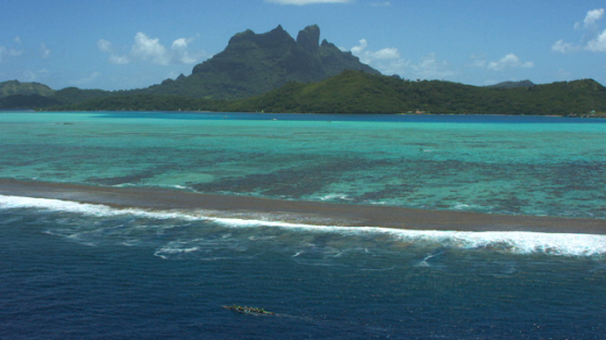 Bora Bora, aerial view of the island Hawaikinui paddle race