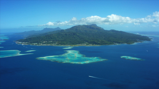 Raiatea, aerial view of the the island and the lagoon