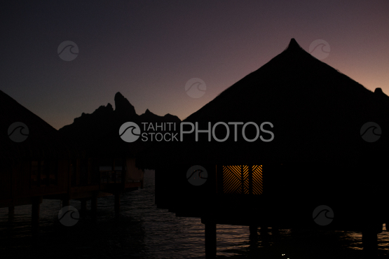 Bora Bora, Overwater bungalow at night