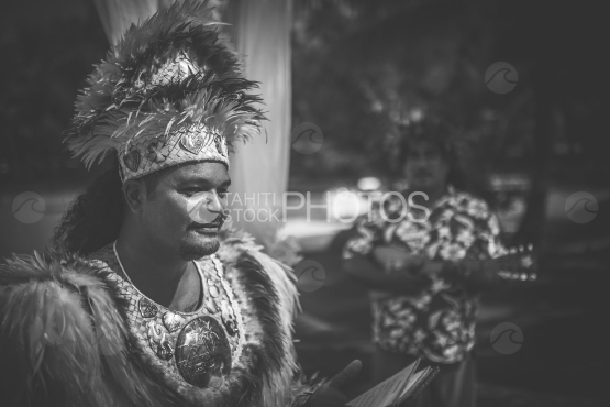 Polynesian preacher at the traditional wedding ceremony, Bora bora