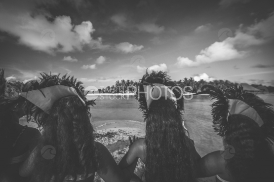 Troup of dancers waiting on the beach, before the wedding ceremony, Bora Bora